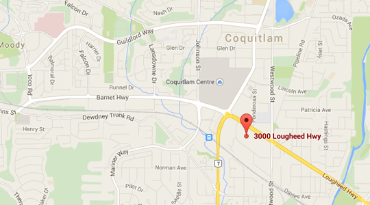 Map to Coquitlam Clinic